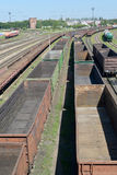Empty freight trains stand Kaliningrad-sorting on the ways of railway station.  Stock Images