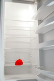 Empty fridge with one red pepper. Empty,bright white fridge with one red pepper Stock Images