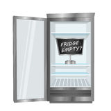 Empty Fridge Vector Concept in Flat Design Royalty Free Stock Photography