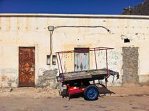 Moroccon fruit cart. An empty fruit trolley standing on a street in Dakhla, Western Sahara Royalty Free Stock Photos