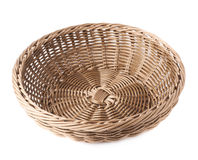 Empty fruit wicker basket bowl isolated Stock Image