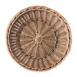 Empty fruit wicker basket bowl isolated stock image