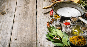 Empty frying pan with aromatic spices and herbs. Royalty Free Stock Photography