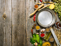 Empty frying pan with aromatic spices and herbs. Royalty Free Stock Photos