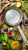 Empty frying pan with aromatic spices and herbs. Stock Images