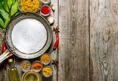 Empty frying pan with aromatic spices and herbs. Stock Photo