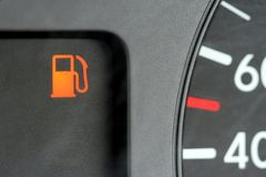 Empty Fuel or Gasoline Display. Empty fuel tank display of a motor vehicle Stock Photos