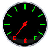 Empty Fuel Gauge. A typical vehicle fuel gauge at the empty mark Stock Photo
