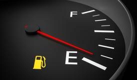 Empty fuel warning light in car dashboard. 3D rendered illustration Stock Photos