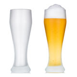 Empty and full beer glass Stock Photo