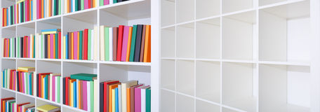 Empty and full bookshelf Stock Photography
