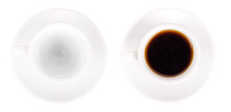 Empty and full coffee white mug on a saucer Royalty Free Stock Photos