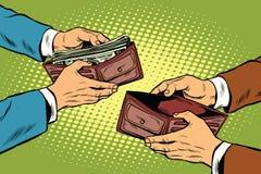Empty and full money wallet. Pop art retro vector illustration Stock Photo