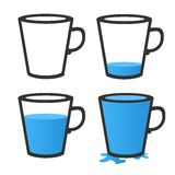 Empty and full mug. Vector illustration Royalty Free Stock Photo