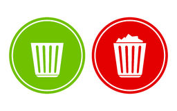 Empty and full recycle bin Stock Photography