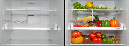 Empty and full refrigerator Royalty Free Stock Images