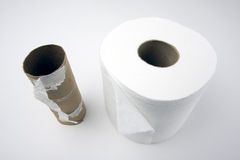 Empty and Full Toilette Paper Rolls Royalty Free Stock Image