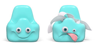 Empty funny and full sad potty 3d rendering Royalty Free Stock Photo