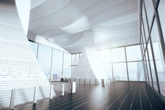 Empty futuristic hall interior with wooden floor and big windows Royalty Free Stock Photography