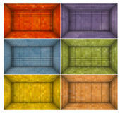 Empty futuristic room with multiple color mosaic walls Royalty Free Stock Image