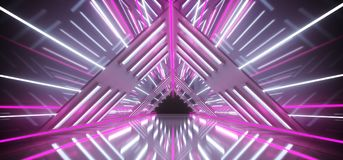 Empty Futuristic Sci Fi Triangle Shaped Highly Reflective Corrid. Or With White Light Strips And Purple Neon Tubes 3D Rendering royalty free illustration