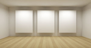 Empty Gallery, 3d Room Royalty Free Stock Photos