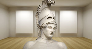 Empty gallery, 3d room with greek sculture, Ancient Statue, Peri Royalty Free Stock Photos