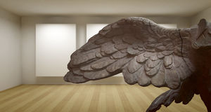 Wing, Empty gallery, 3d room with greek sculture, Ancient Statue Royalty Free Stock Image