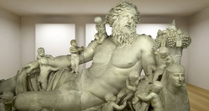 Zeus, Empty gallery, 3d room with greek sculture, Ancient Statue Royalty Free Stock Photo