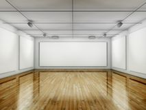 Empty Gallery, Hall with Frames Stock Photo