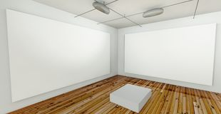 Empty Gallery, Hall with Frames Royalty Free Stock Photos