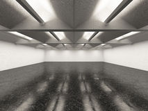 Empty gallery interior with dark floor Royalty Free Stock Images