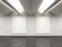 Empty gallery interior with two frames Stock Photo