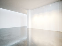 Empty gallery interior with white canvas and Royalty Free Stock Photography