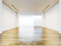 Empty gallery room with blank walls and wooden Stock Photo