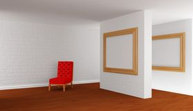 Empty gallery's hall Royalty Free Stock Photo