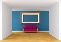 Empty gallery's hall with purple couch Stock Image