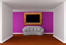 Empty gallery's hall with white sofa Royalty Free Stock Image