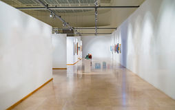 Empty gallery white museum space walls Royalty Free Stock Images