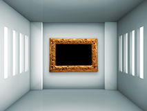 Empty gallery with windows Royalty Free Stock Images