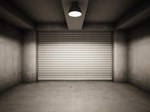 Empty garage. Illuminated by lamp Royalty Free Stock Photos