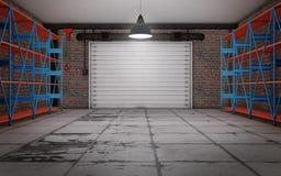 Empty garage interior. 3d rendering stock photos