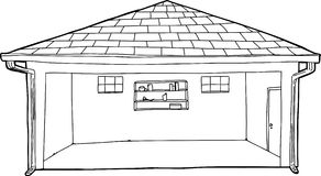 Empty Garage Outline Cartoon Royalty Free Stock Images