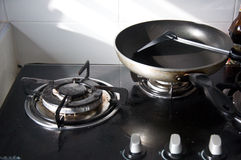 Empty gas stove and pan Stock Image