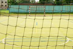 Empty gate. Outdoor football or handball playground, Royalty Free Stock Images