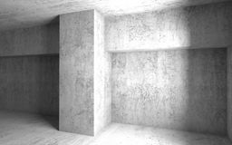 Empty ggray concrete room interior. Abstract 3d. Empty ggray concrete room interior. Abstract architectural background. 3d render illustration Stock Images