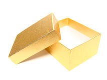 Empty gift box. Opened, empty gold gift box with copy space on a white background Stock Photo