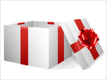Empty gift box with red bow Stock Photography