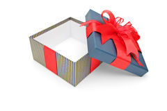 An empty gift box with red ribbons Stock Photo