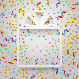 Empty gift box with ribbon and confetti Stock Photo